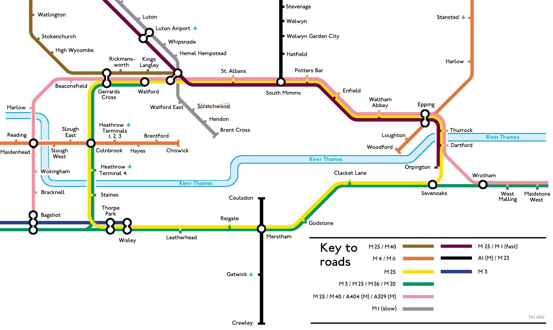 Motorway Map Of England.Geofftech Tube Silly Tube Maps